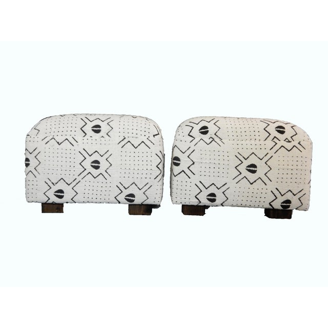 White & Black Mud Cloth Ottomans - A Pair - Image 6 of 9
