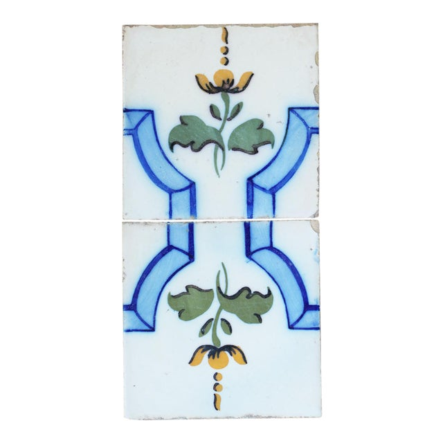 20th Century Tin-Glazed Pottery Tiles - a Pair For Sale