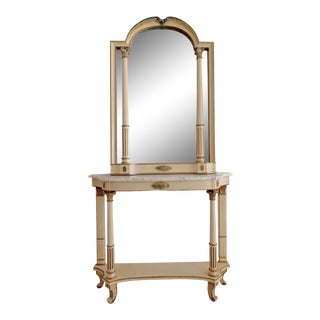 Italian Palladio Ca 1950s Mirror and Console Set, the 2 Pieces For Sale