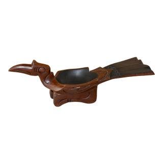 1950s Hornbill Bird Borneo Kenyalang Rhinoceros Bird Wood Effigy Bowl For Sale