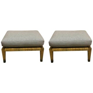 Pair of Italian Mid Century Rattan & Reed Ottomans For Sale