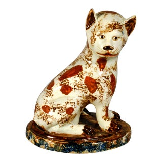 English Creamware Pottery Cat, Late 18th Century. For Sale