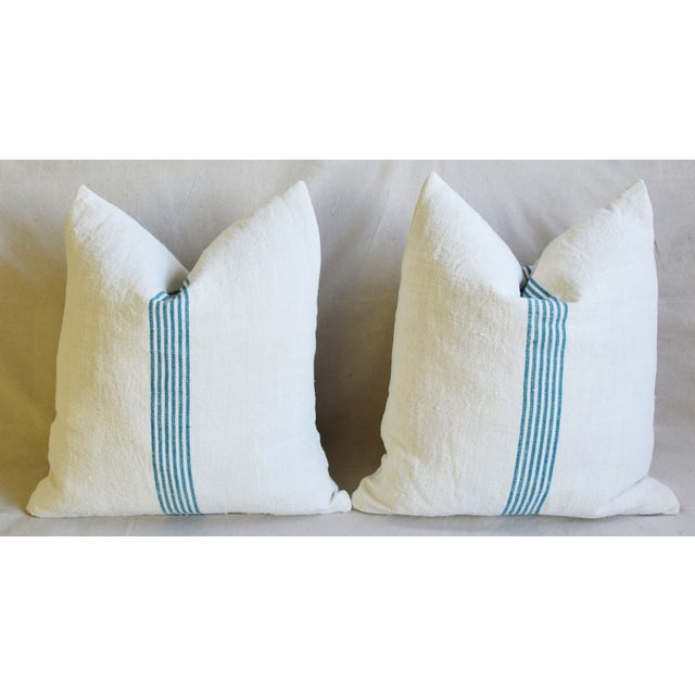 """Feather Aqua Striped French Homespun Grain Sack Textile Feather/Down Pillows 21"""" Square - Pair For Sale - Image 7 of 13"""