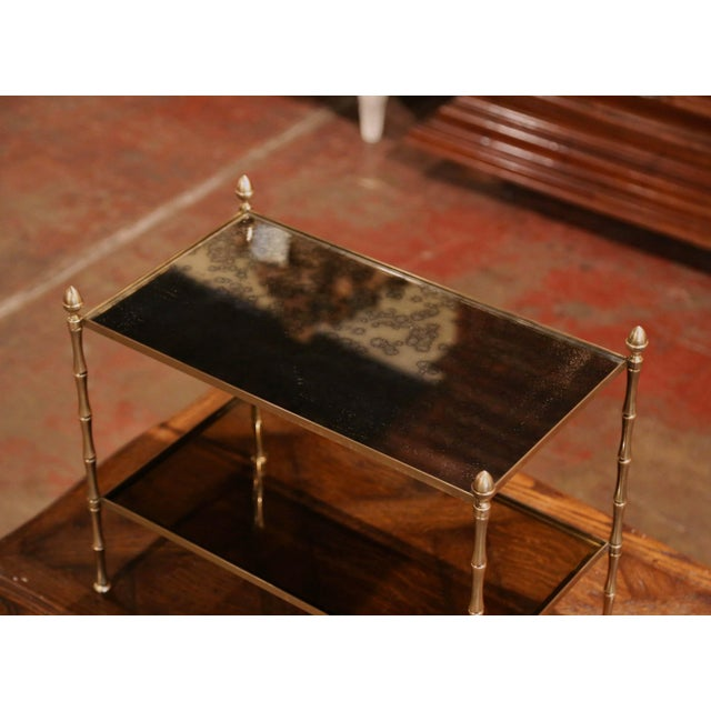 Mid-Century Modern Mid-French Bamboo Brass and Glass Table Style Maison Baguès, Paris For Sale - Image 3 of 6