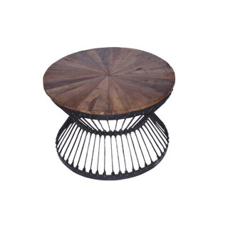 Contemporary Round Recycle Wood Coffee Table