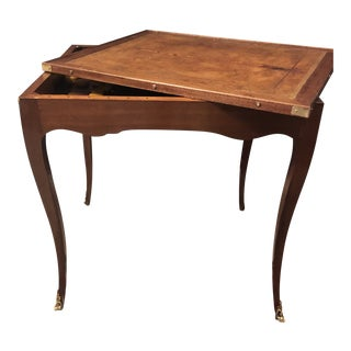19th Century Bone Inlaid Games Table with Leather Top For Sale