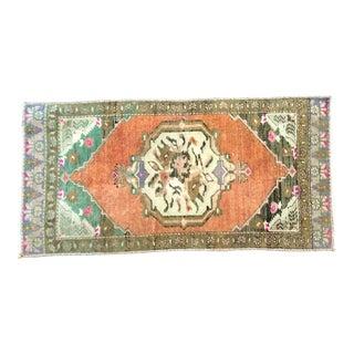 Vintage Turkish Handmade Orange Small Rug For Sale