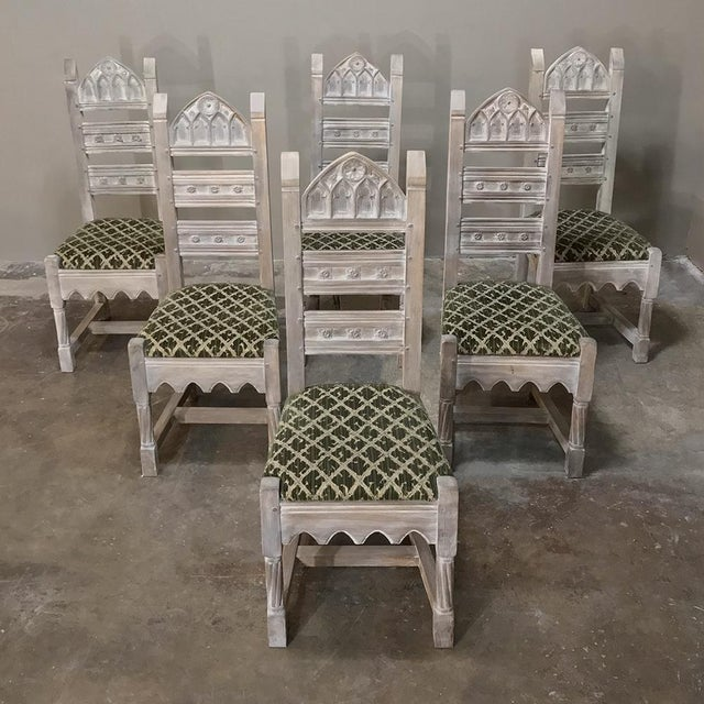 Early 20th Century Antique Rustic Gothic Stripped Dining Chairs- Set of 6 For Sale - Image 12 of 12