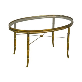 Mastercraft Brass & Glass Oval Faux Bamboo Coffee Table For Sale