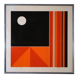 Mid-Century Modern Abstract Geometric Signed Lithograph by Victor Rosado For Sale