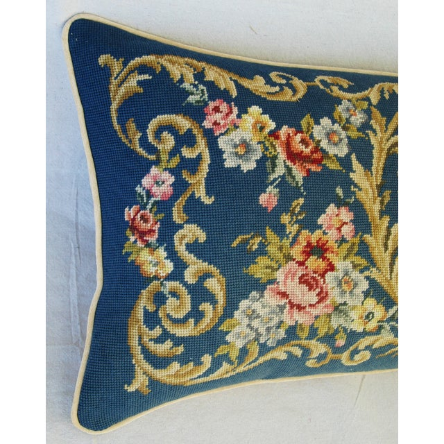 Custom 19th-C. French Needlepoint Floral Pillow - Image 10 of 11