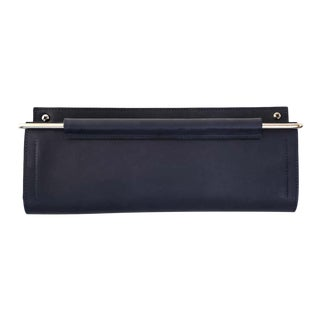 Moses Nadel Wall Pocket 1 L with H in Navy Leather and Stainless For Sale