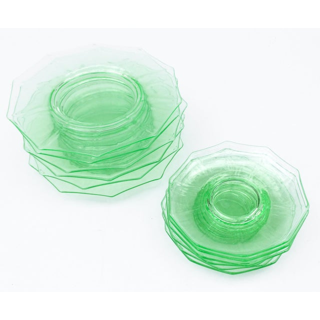 Glass Antique Green Glass Luncheon & Dessert Plates - Set of 12 For Sale - Image 7 of 13