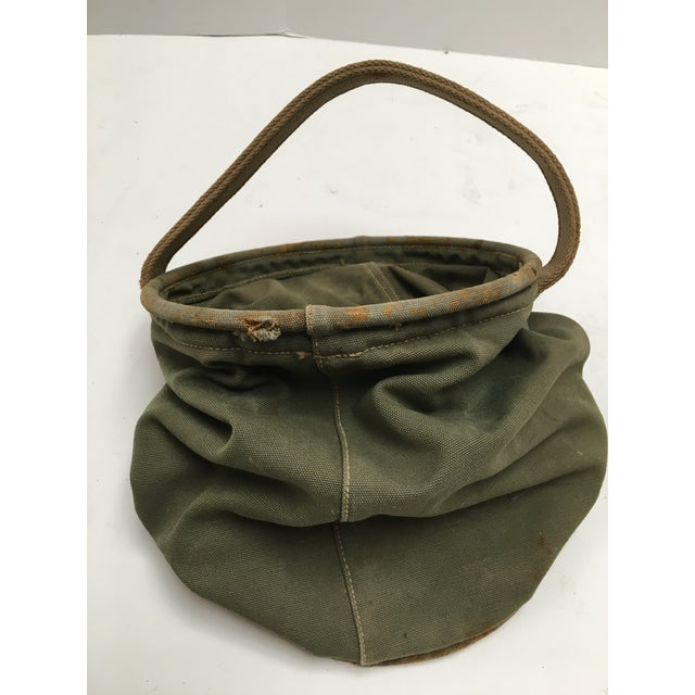 Canvas Vintage World War II 1944 Canvas Water Bucket For Sale - Image 7 of 9