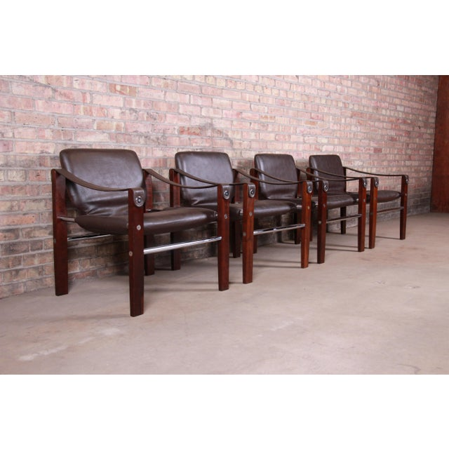 Maurice Burke for Pozza Mahogany and Leather Safari Chairs, Set of Four For Sale - Image 13 of 13