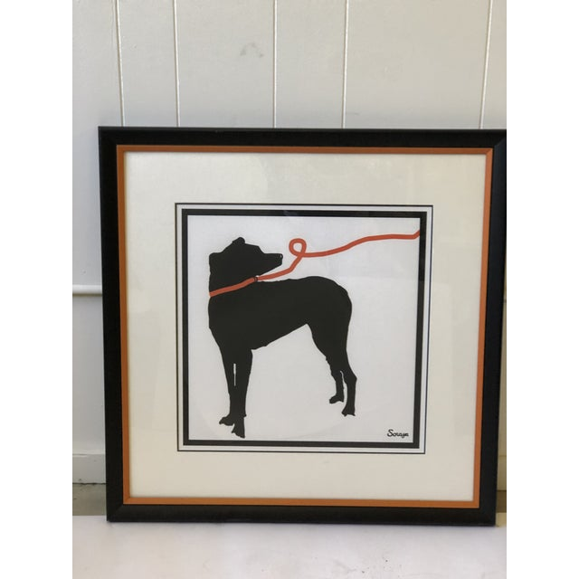 Art Deco Stylized Artwork of a Dog on Orange Leash For Sale - Image 3 of 12