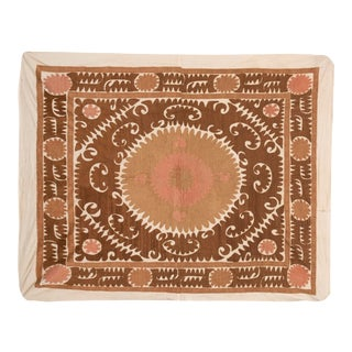 Suzani Wall Hanging Decor - Faded Brown Vintage Table Cloth For Sale
