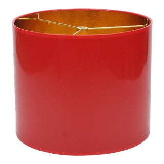 Small High Gloss Red Drum Lamp Shade With Gold Lining For Sale