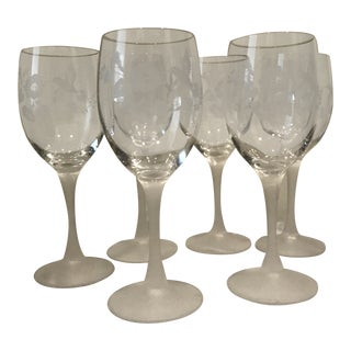"""Etched """"Hummingbird"""" Crystal Wine Glasses - Set of 6 For Sale"""
