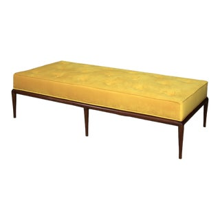 t.h. Robsjohn-Gibbings Midcentury DayBed in Velvet and Wood, Restored, 1950s For Sale