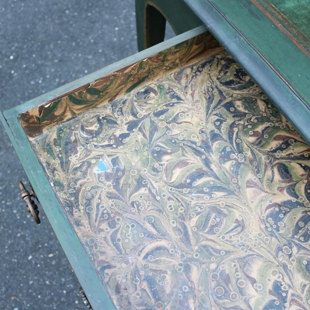 Green Antique French Provincial Leather Top Desk - Image 11 of 11