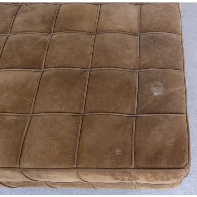 Large Tufted Square Suede Ottoman For Sale In Miami - Image 6 of 9