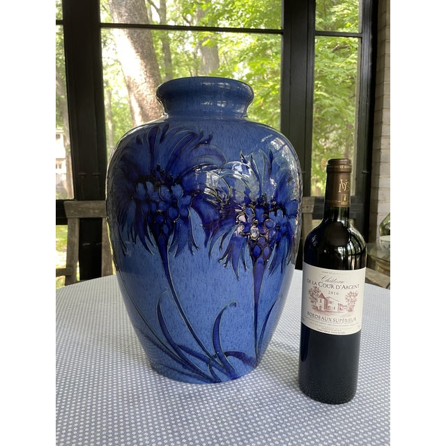 1928 Signed and Dated Cornflower Blue Moorcroft Large Table Vase. Fully marked on bottom as shown. Very fine antique...