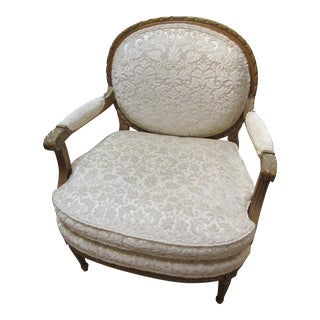 1930s French White on White Damask Arm Chair For Sale