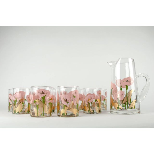 Vintage North American martini / cocktail glassware pitcher with whiskey / scotch low ball glass set. This set is just...
