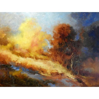 """Expressionist """"Trees on Hillside"""" Landscape Oil Painting For Sale"""