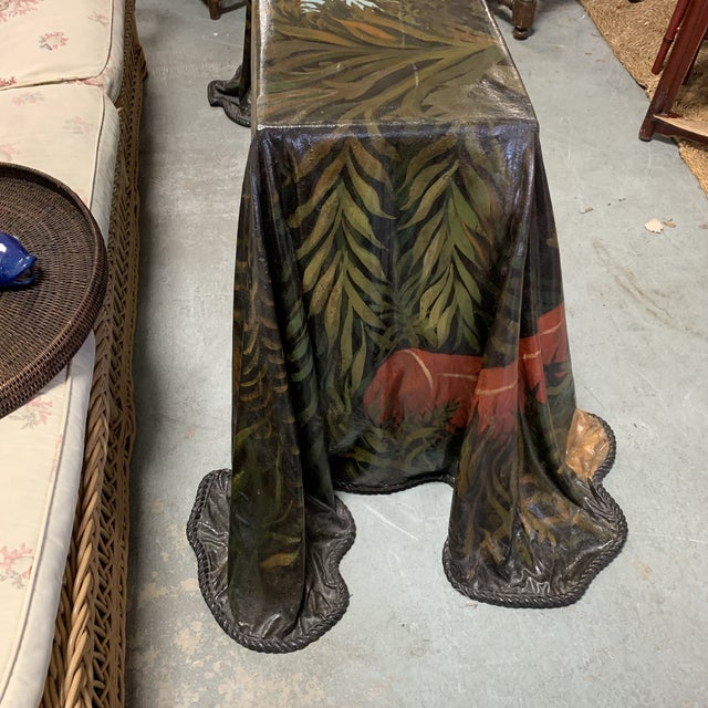 William Skilling Trompe l'Oeil Fiberglass Draped Cheetah Skilling Style Painting Console Table For Sale - Image 4 of 13