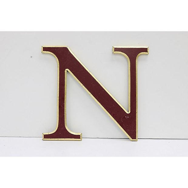 """English Vintage Red & Gold English Pub Sign Letter """" N """" For Sale - Image 3 of 3"""