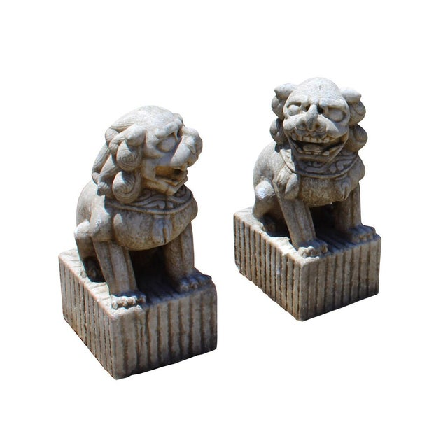 Asian Chinese Distressed Marble Stone Fengshui Foo Dogs Statues - a Pair For Sale - Image 3 of 7