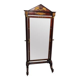 French Mahogany Neoclassical Cheval Mirror For Sale