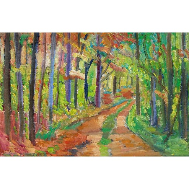 Fine large modernist forest pathway filled with bold colors, vintage Danish landscape painting c. 1950s. Signed lower left...