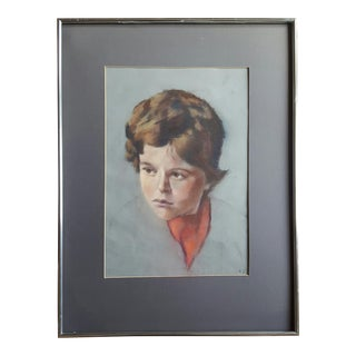 Pastel Portrait Painting of a Boy by K. S. For Sale