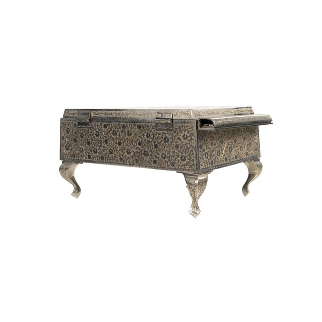 Boho Chic Zimbalist Silver Plated Grand Piano Swiss Music Box For Sale - Image 3 of 9