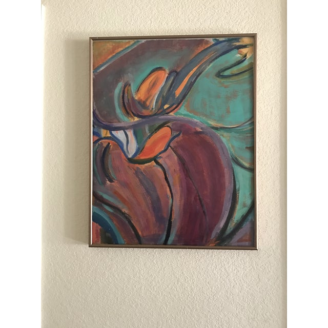 Vintage Mid-Century Modern Abstract Watercolor Painting - Image 3 of 5