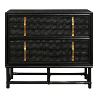 Elegant Restored Black Lacquer Raffia Commode For Sale