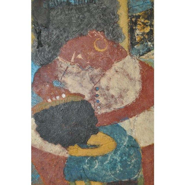 "Circa 1964 Vintage ""Combing Hair"" Haitian Painting - Image 4 of 8"