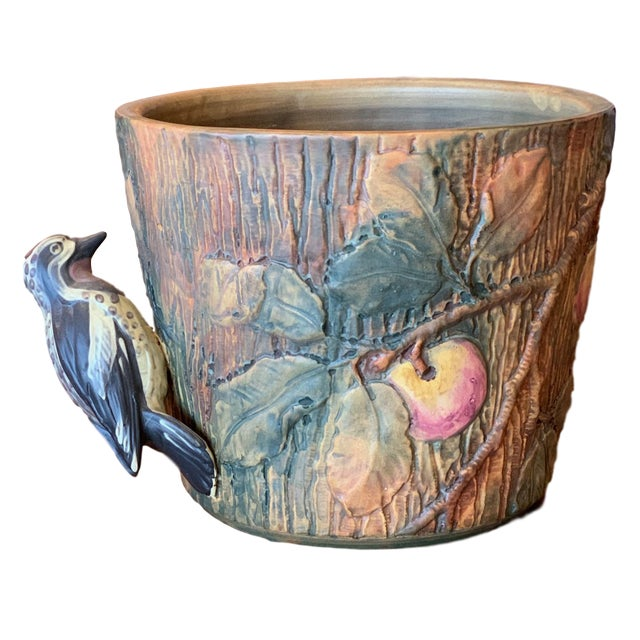 Weller Woodcraft Baldin Jardiniere With Woodpecker For Sale - Image 11 of 11