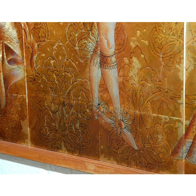 Gold Italian Mid-Century Églomisé Panel For Sale - Image 8 of 9