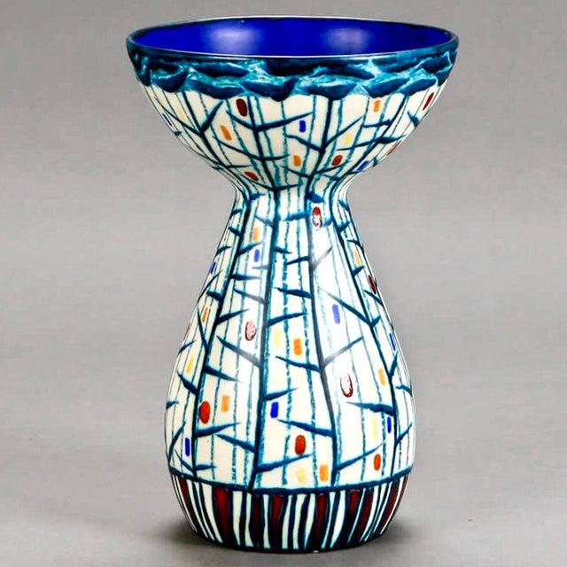 Mid Century Ernest d'Hossche Op Art Blue White Vase - Image 2 of 4