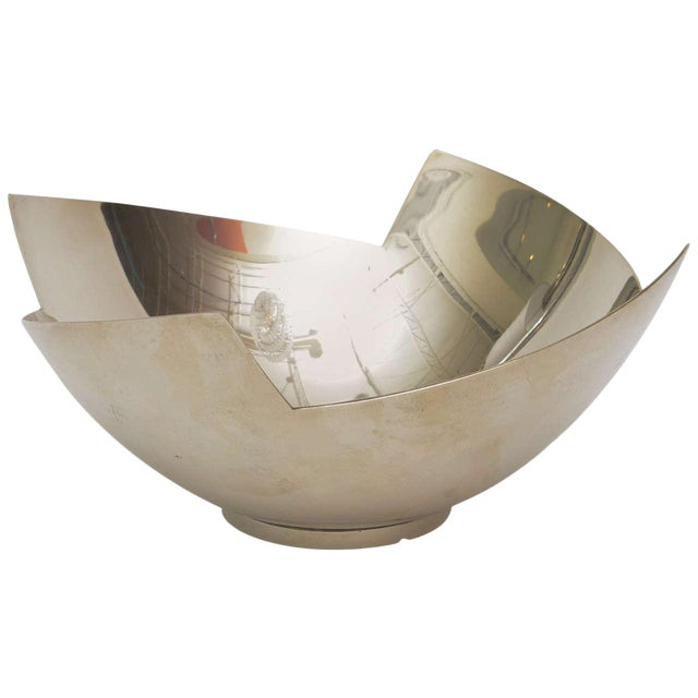 Signed Sculptural Silver Plate Bowl by Elsa Rady for Swid Powell For Sale