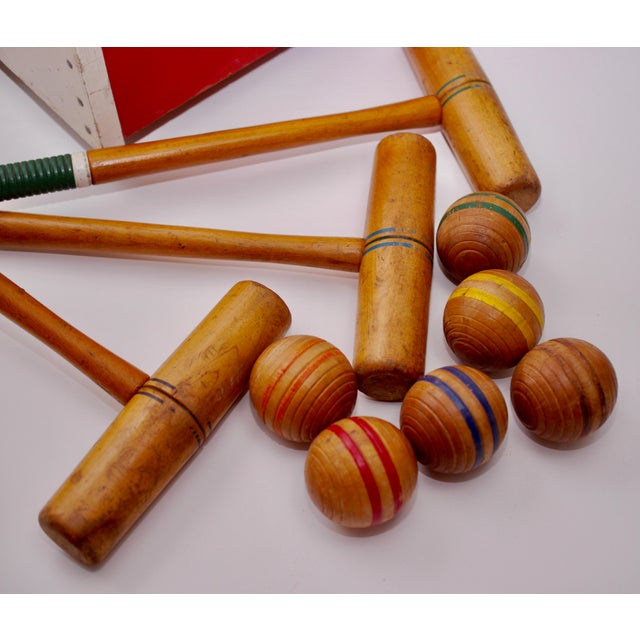 Red Mid Century South Bend Croquet Set For Sale - Image 8 of 12