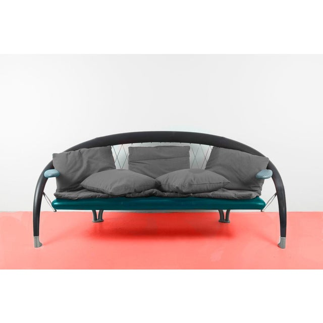 """Spectacular Andrea Branzi Sofa """"Axale"""". Marvelous and rare piece. Architectural steel frame with green and gray memphis..."""