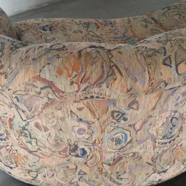 Offering a Custom Vintage Modernist Upholstered Sofa in a Kidney Shape by Fine Furniture Maker, Thayer Coggin. Sofa...