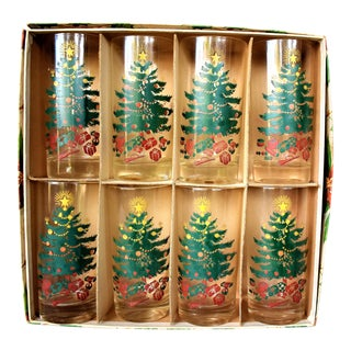 1960s Vintage Christmas Tree Glasses - Set of 8 For Sale