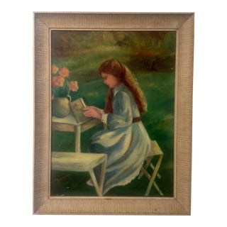 Mid-Century Painting of a Girl For Sale