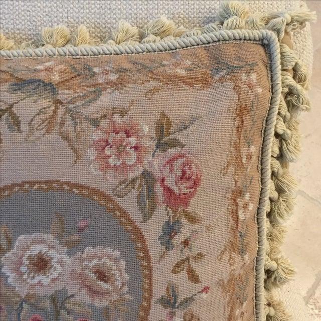 Large Grey, Blue, Cream Needlepoint Pillow - Image 5 of 6